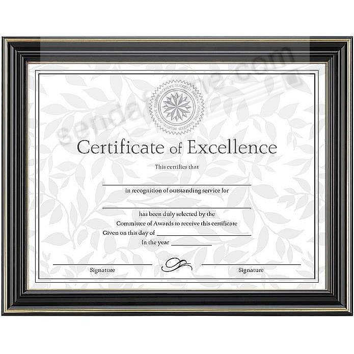 High-gloss Black w/gold trim certificate frame 11x8½ style by DAX®