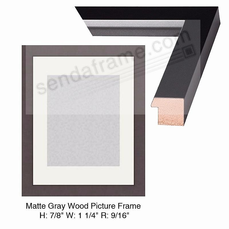 Custom-Cut™ STUDIO Matte-Gray Wood Frame H:7/8 W:1-1/4 R:9/16