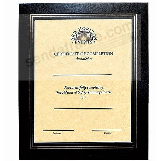 DUAL EASEL Deluxe Black Mat certificate frame w/gold foil border + cover (sold in 5's)