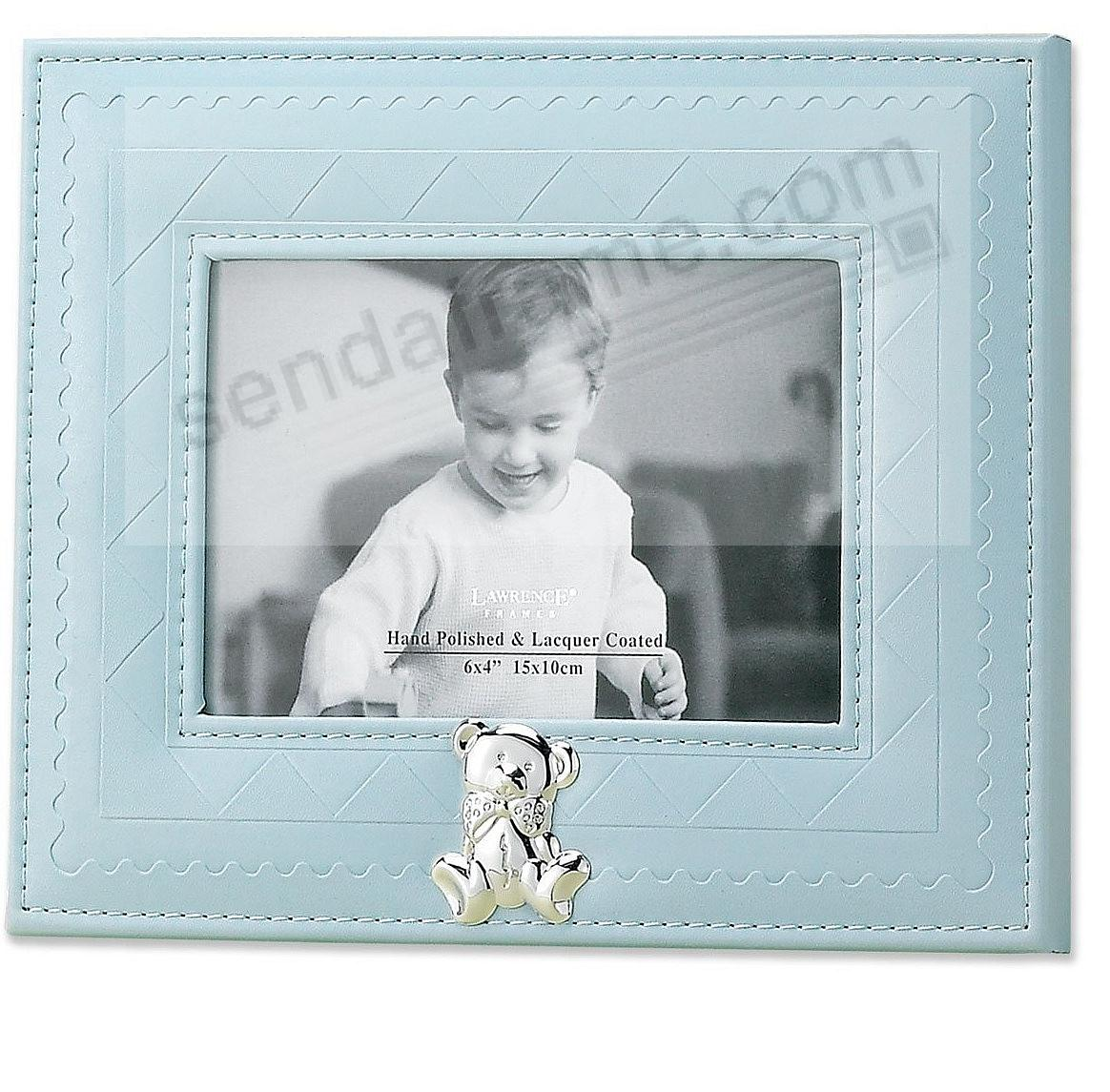 Adorable blue faux leather frame with silver teddy bear by Lawrence®