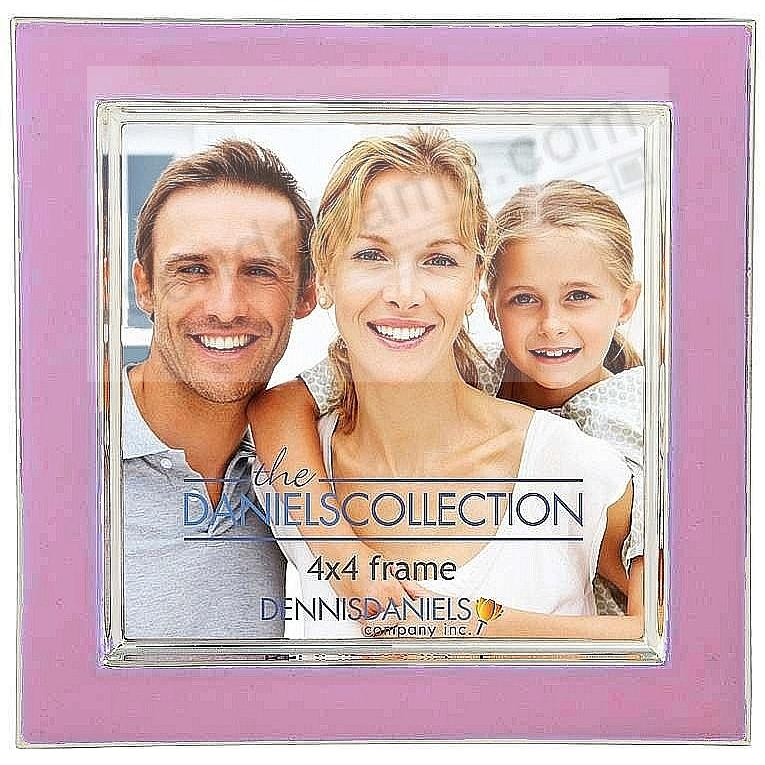 Rosy Pink enamel + silver 4x4 contemporary frame by Dennis Daniels®
