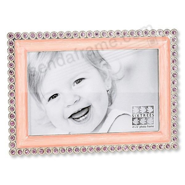 Pink jewel adorned pink enamel 4x6 frame by Sixtrees® - Picture ...