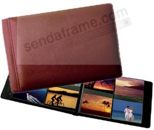 ROMA RED smooth grain leather #178 album with 4-on-a-page pockets by Raika®