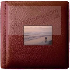 ROMA RED smooth grain leather #113 window album with 5-at-a-time pages by Raika®