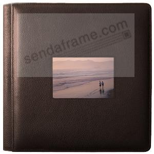 RODEO MOCHA pebble grain leather #113 window album with 5-at-a-time pages by Raika®