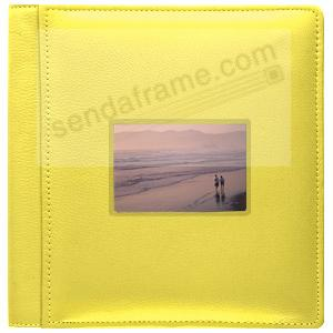 RODEO YELLOW pebble grain leather #113 window album with 5-at-a-time pages by Raika®