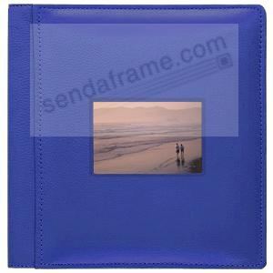 RODEO BLUE pebble grain leather #113 window album with 5-at-a-time pages by Raika®