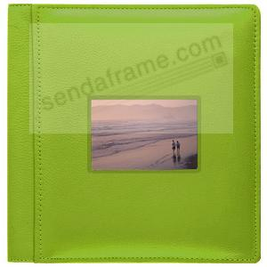 RODEO LIME GREEN pebble grain leather #113 window album with 5-at-a-time pages by Raika®