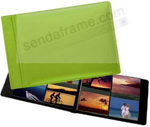 RODEO LIME GREEN pebble grain leather #178 album with 4-on-a-page pockets by Raika®