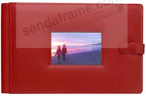 RODEO RED latch close pebble grain leather 4-on-a-page window #177 album by Raika®