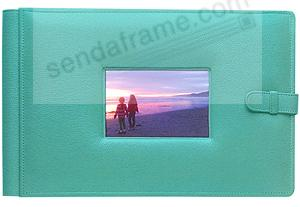 RODEO TURQUOISE latch close pebble grain leather 4-on-a-page window #177 album by Raika®