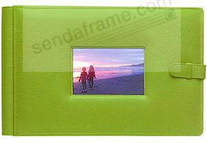 RODEO LIME GREEN latch close pebble grain leather 4-on-a-page window #177 album by Raika®