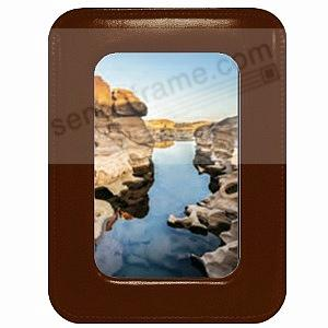 ROMA MOCHA BROWN leather ROUNDED CORNERS #173 frame by Raika®