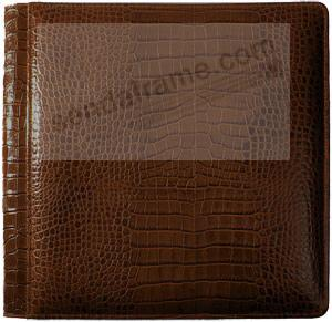 NILE BROWN #102 crocodile print leather 2-up album by Raika®