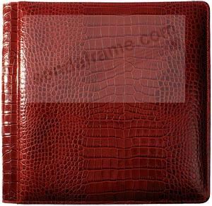 NILE RED crocodile print leather medium scrapbook #162 style album by Raika®