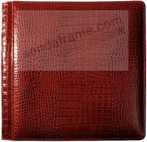 NILE RED #103 Crocodile-Print Italian leather 1-up 5x7 album by Raika®