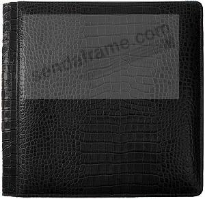 NILE BLACK crocodile print fine leather #133 magnetic page album by Raika®