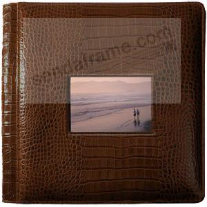 NILE BROWN crocodile print fine leather #113 window album with 5-at-a-time pages by Raika®