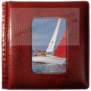 NILE RED crocodile print fine leather #169 window 2-up album by Raika®