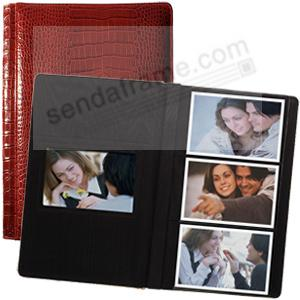 NILE RED crocodile print leather #127 album with 3-at-a-time pages by Raika®