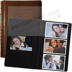 NILE BROWN crocodile print leather #127 album with 3-at-a-time pages by Raika®