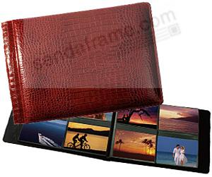 NILE RED crocodile print leather #178 album with 4-on-a-page pockets by Raika®