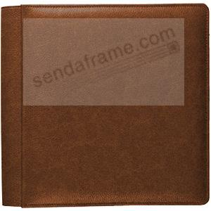 VINTAGE COGNAC fine-grain leather #101 album with fold-out pages by Raika®