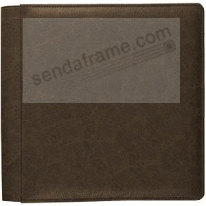VINTAGE BROWN fine-grain leather #133 magnetic page album by Raika®