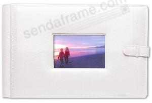 WHITE-WHITE latch close pebble grain leather 4-on-a-page window #177 album by Raika®