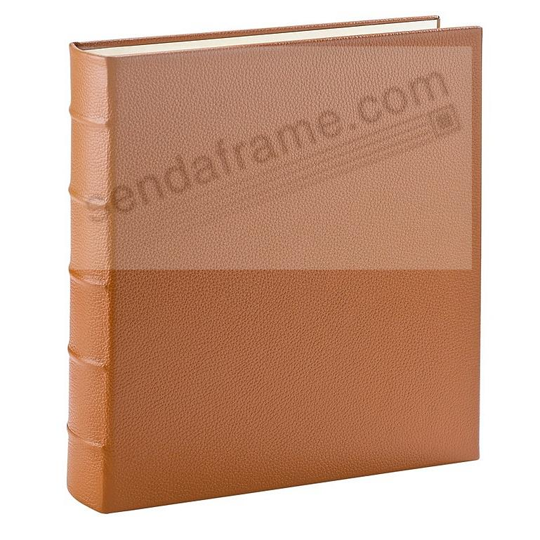 Standard 3-ring Traditional Saddle-Tan Fine European Leather binder (unfilled) by Graphic Image™