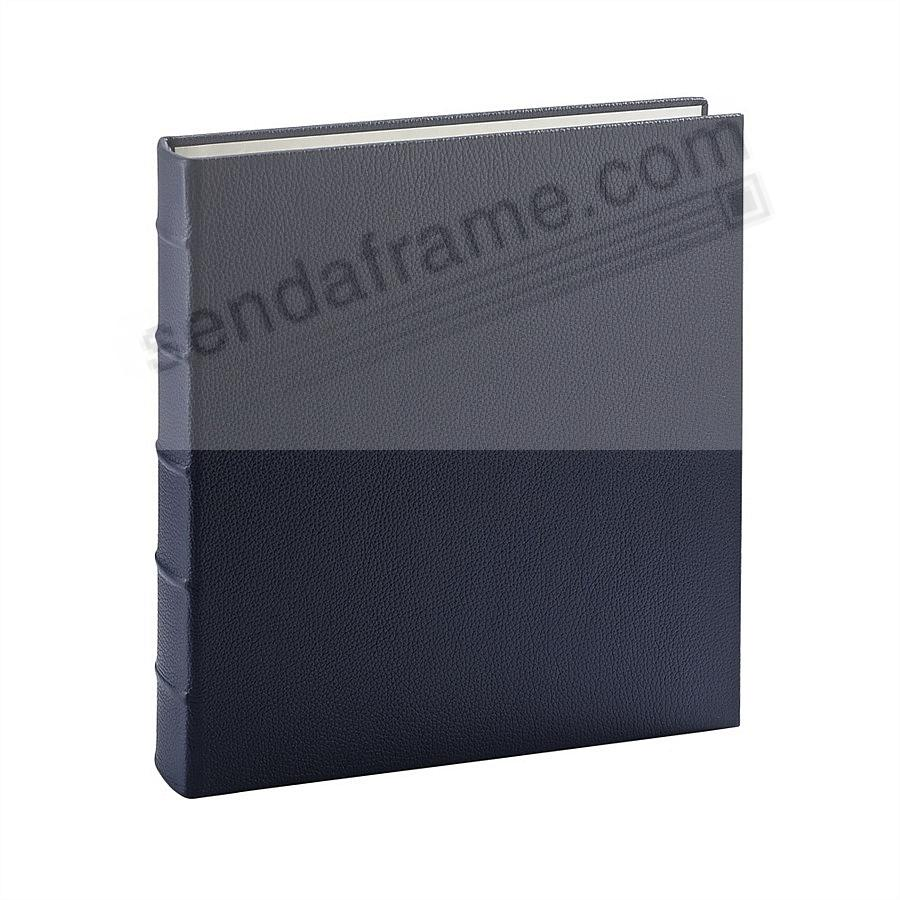 Standard 3-ring Traditional Navy-Blue Fine European Leather binder(unfilled) by Graphic Image™