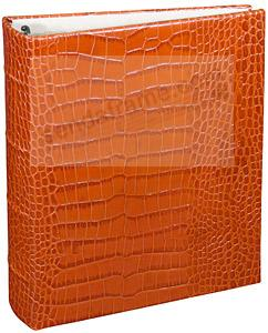 Orange Crocodile-pattern Leather 1-up Clear Pocket 3-ring Album<br>by Graphic Image&trade;