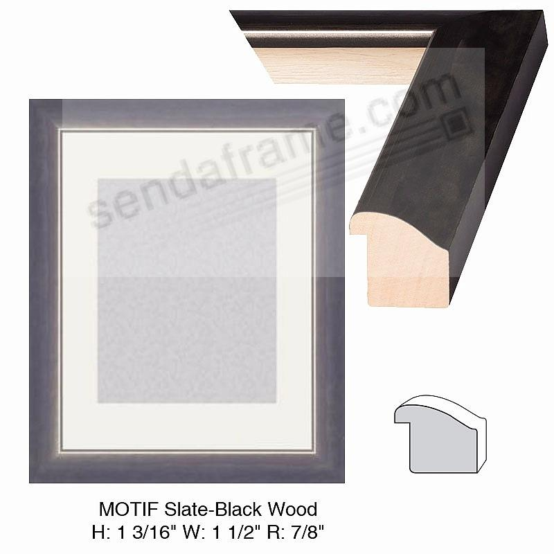 Custom-Cut™ MOTIF Slate-Black Wood H:1-3/16 W:1-1/2 R:7/8