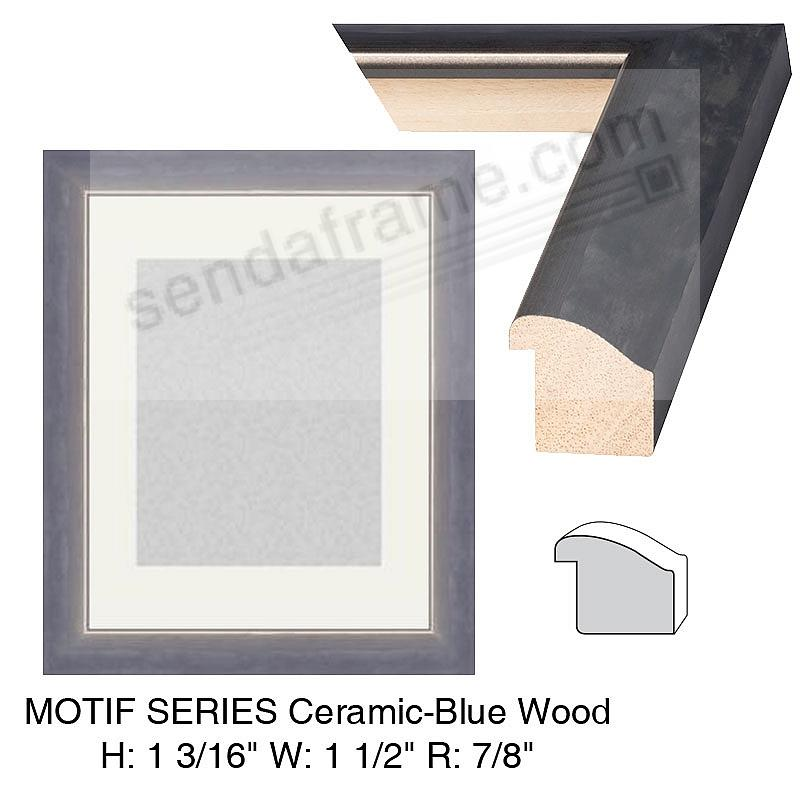 Custom-Cut™ MOTIF Ceramic-Blue Wood Frame H:1-3/16 W:1-1/2 R:7/8