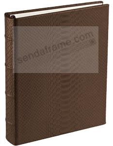 Brown Cayman Python Leather 2-up Clear Pocket 4-ring Album<br>by Graphic Image&trade;