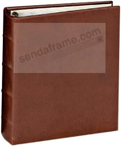 Standard 3-ring Rustico-Brown bonded-leather FILLED with 4x6 slip-in pocket pages by Graphic Image™