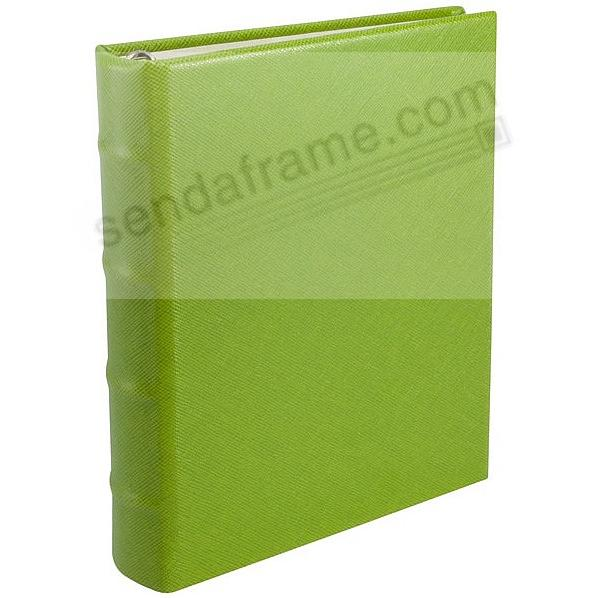 Saffiano-Lime Eco-Leather 1-up 3-ring Album with slip-in pockets<br>by Graphic Image&trade;