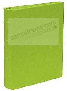 The Post Impressions™ System standard 3-ring Saffiano Lime eco-leather binder (unfilled)