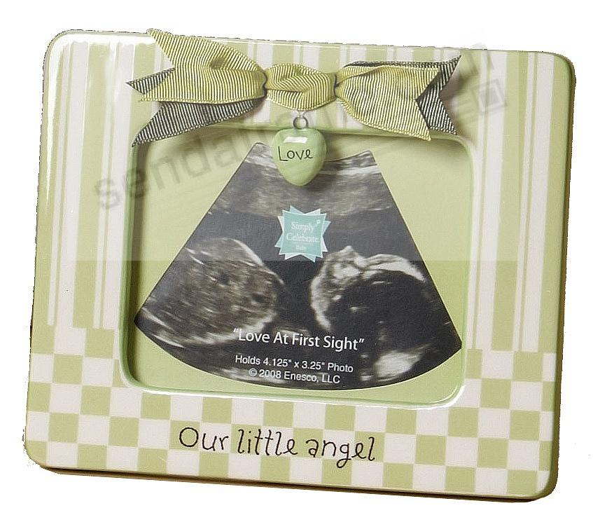 OUR LITTLE ANGEL Green unisex Ultrasound frame w/bow and charm ...