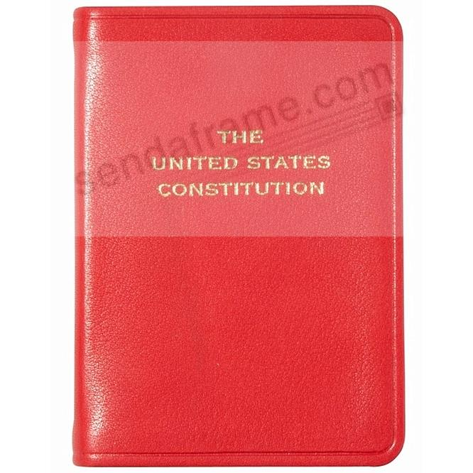 Palm-size Constitution in traditional Red Calfskin Leather.by Graphic Image™