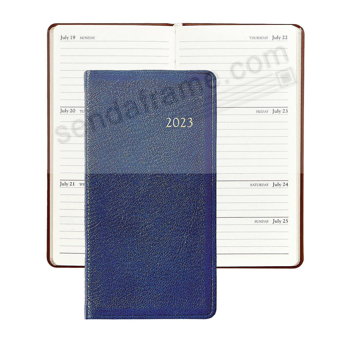 2018 BRIGHTS INDIGO-BLUE 6inch Pocket Datebook Diary in Fine Leather by Graphic Image™