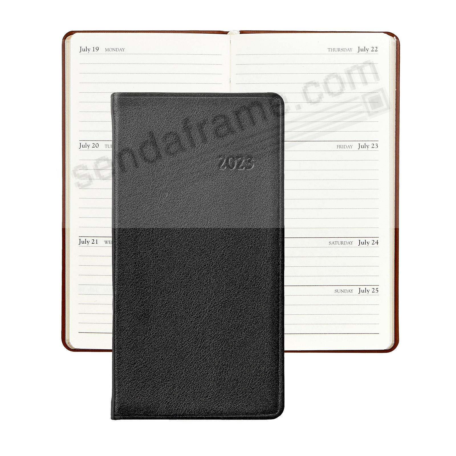 2018 TRADITIONAL BLACK 6in Pocket Datebook Diary Calfskin Leather by Graphic Image™