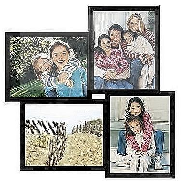 Black 4-opening wood collage frame for 8x10 prints by Malden ...
