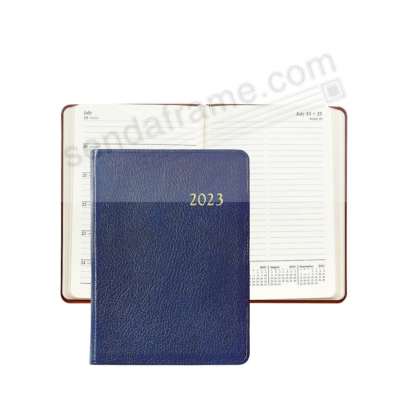 2018 Notebook Planner 7in INDIGO-BLUE Fine Leather by Graphic Image™