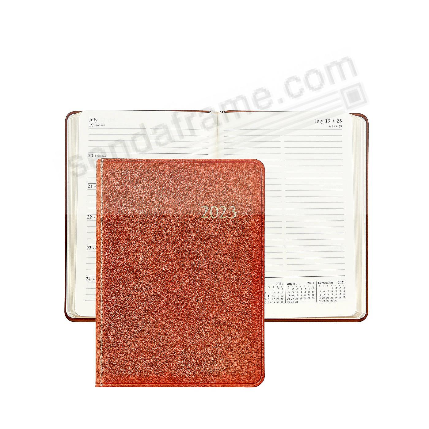 2020 Notebook Planner 7-in Brights-ORANGE Fine Leather by Graphic Image™