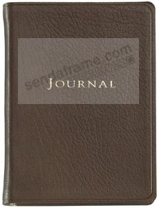 Pocket 6'' Small Mocha-Brown Fine Leather Travel Journal by Graphic Image™
