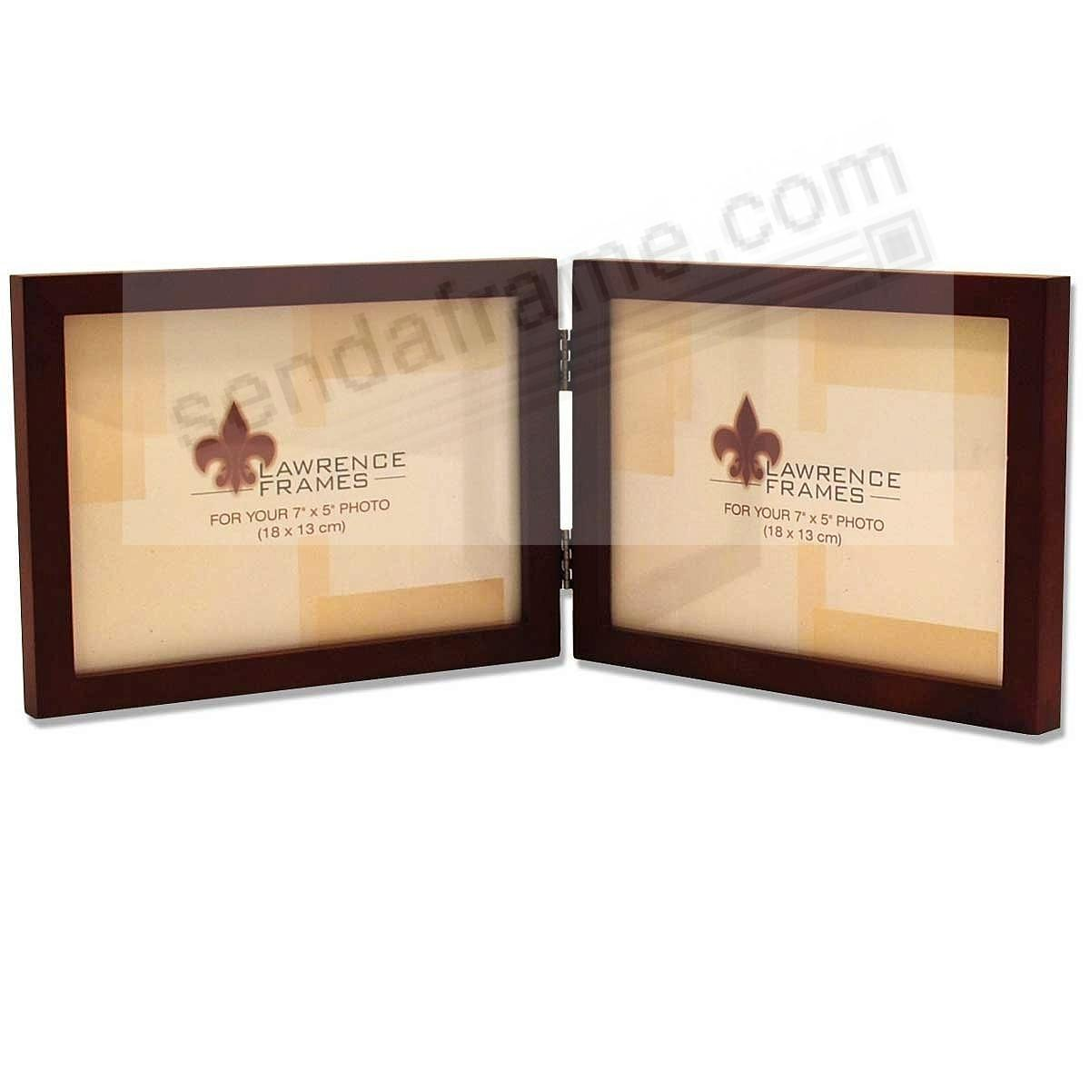 SQUARE CORNER classic <u>horizontal 7x5</u> walnut stained hinged duo by Lawrence®