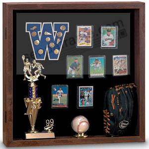 Indoor MEMORABILIA CASE - Walnut wood with black backing