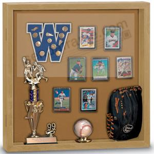 Indoor MEMORABILIA CASE - Light Oak wood with natural cork backing
