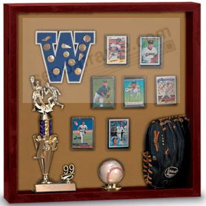 Indoor MEMORABILIA CASE in fine cherry wood w/ natural cork backing
